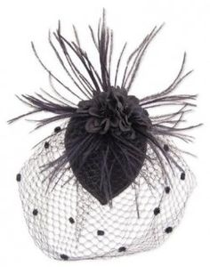 Black Feather Fabric Flower Net Fascinator Hair Clip and Cocktail Hat. Black fascinator features x fabric cap with fabric flower, feather accents and mesh net. Pyramid Collection, Black Fascinator, Bridal Fascinator, Cocktail Hat, Love Hat, Black Feathers, Derby Hats, Bandeau, Mode Style