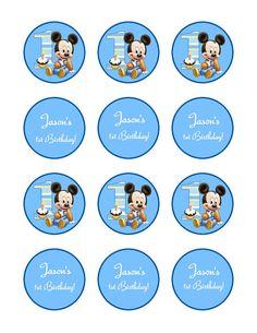 Cupcake Topper, Mickey Mouse 1st Birthday,  Tag, Sticker 2 inch round via Etsy