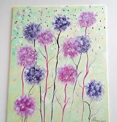 Fluffy Pink Purple Flower Painting Original Artwork UK Floral Canvas Painting Home Decor Anniversary Gift Ideas For Ladies Mum Wall Artwork Pretty Flowers, Purple Flowers, Pink Purple, Pink White, Original Artwork, Original Paintings, Acrylic Painting Flowers, Flower Canvas, House Painting