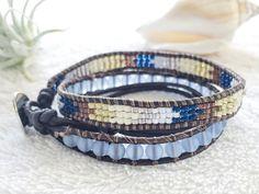 Sky Blue Sea Glass Bracelet Double Leather Wrap by PinaHina