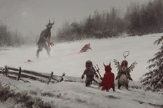 Title: does it mean there will be no gifts this year? . Artist: Jakub Rozalski . Comment: Krampus clarify certain issues with Santa stuck_out_tongue  Merry Christmas everyone and thank you for all kind words and support, cheers! . Link to artist: jakubrozalski.artstation.com facebook.com/Kubasa . #art #fantasy #mythical #adventure #artstation #devianart #game #medieval #digitalart #conceptart #digitalpainting #drawing #painting #illustration #scifi #geek #winter #Krampus #gifts #newyear…