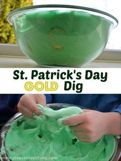 Have a sensory green Leprechaun gold dig for St. Patrick's Day! #kids #activities #indoor