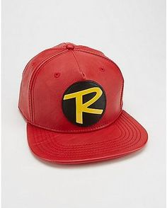 19420a5e7dc Faux Leather Robin Snapback Hat - DC Comics - Spencer s