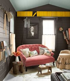 That pop of bold yellow in this #homeoffice? Vintage National Geographics!