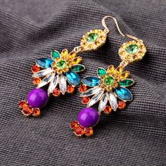 Fabulous Dangle Earrings With Multicolors - View All - New In Fashion Days, Fashion Beauty, Womens Fashion, Looks Style, Style Me, Make Me Chic, Cowgirl Style, Fashion Quotes, Diamond Are A Girls Best Friend