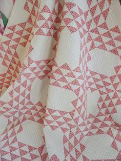 c1880s Double Pink Ocean Waves Antique Quilt  Gorgeous Quilting! Vintageblessings
