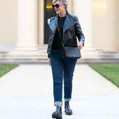 Moto jacket, cuffed jeans and leather boots | Photo shared by Beth | For more style inspiration visit 40plusstyle.com