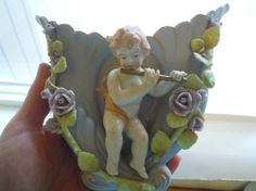 Vintage Wall Pocket Cherub Blue Porcelain Flowers Flute Roses Shabby Chic Angels