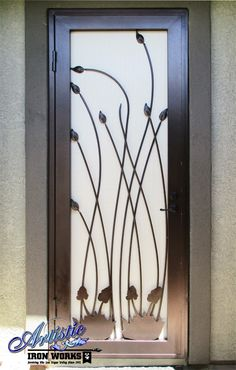 Nature Themed Wrought Iron Security Door with plasma cut features - Model SD0355