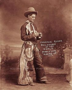 Rodeo World Champion Steer Bulldogger Vintage Photo Cowboy Old West 21237 | eBay