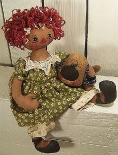 """Puppy Love Gentle 16"""" raggedy with red Ricky Wacky hair loving her primitive puppy. Cloth Doll Making Sewing Patterns by Michelle Allen Raggedy Pants Folk Art Designs Cloth Doll Patterns for Raggedies, FolkArt Whimsical Dolls, Snowmen, Critters and More! Over 60 Original Designs!"""