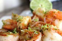 5 Minute Tequila Lime Shrimp -   1lb of shrimp, 1 large garlic glove, 2 limes, course sea salt + pepper, 2 Tbsp of good quality tequila, EVOO