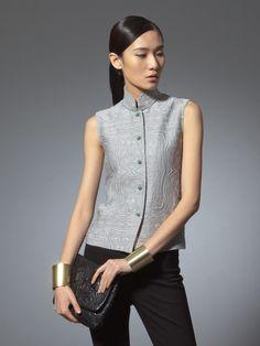Cotton blend jacquard sleeveless top - Shanghai Tang