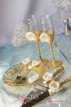 Ivory & gold wedding glasses, wedding forks and plate,cake server and knife, collection gatsby, wedding gift ideas, wedding supplies 7 pcs