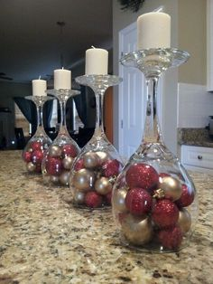 DIY ideas for Christmas Decorations;Table Decorations; Christmas Decor DIY food on a budget Ideas of Inverted Goblet Candles for Holiday Decoration Christmas Candle Decorations, Christmas Candles, Table Decorations, Simple Christmas, Christmas Diy, Christmas Ornaments, Xmas, Christmas Place Cards, Nordic Christmas