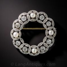 Edwardian Diamond and natural Pearl Wreath Brooch - Edwardian Jewelry - Vintage Jewelry