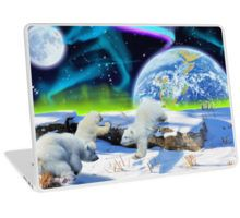 Polar Bear Cubs playing in snow Fantasy Earth Day design on a Laptop Skin