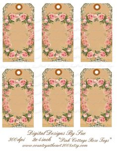 INSTANT DOWNLOAD Set of 6 Pink Cottage Rose by CountryAtHeart2008