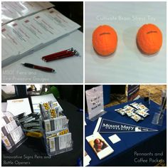 Trade Show Promotional Marketing Ideas - pens are essential! Other ideas: tire pressure gauges, bottle openers, combination pen/highlighters, brain stress toy, branded coffee packets, and pennants turned out.  Give attendees something that is appreciated, fun, and relevant to your brand. Read on in our blog post.   Magellan Collegiate Promotions