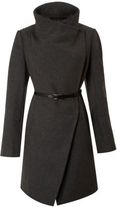 Kenneth Cole Gray Twill Belted Wool Coat