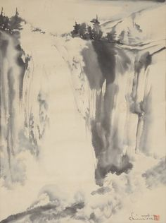 Chiura Obata (1885-1975): Vernal Fall Ink on paper #michaans #asianart #yosemite http://www.michaans.com/highlights/2015/highlights_05092015.php