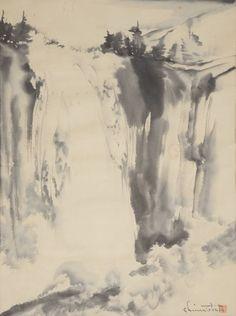 Chiura Obata (1885-1975): Vernal Fall Ink on paper #michaans #asianart #yosemite http://www.michaans.com/highlights/2015/highlights_05092015.php