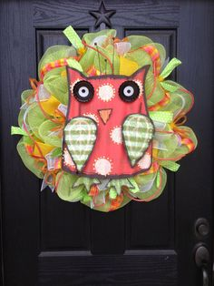 SPRING OWL Mesh Wreath by GlitzyWreaths on Etsy, $85.00