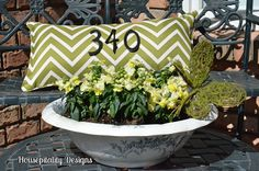 House number porch pillow. || could also sew the #'s on at the nail holes if able/so inclined :)  -db.