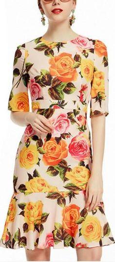 Multicolored Rose Fluted-Hem Dress
