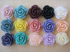 15PCS  Mixed Color  Resin Rose Flower Cabochons  18mm  by ZARDENIA, $11.25