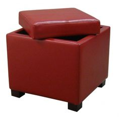 Venzia Bonded Leather Square Ottoman, Red