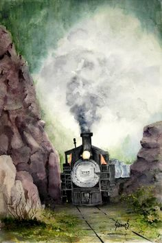 Train Art - The 413 by Sam Sidders Train Tour, Train Art, Train Pictures, Ho Trains, Watercolor Illustration, Watercolour Art, Steam Locomotive, Train Tracks, Beautiful Artwork