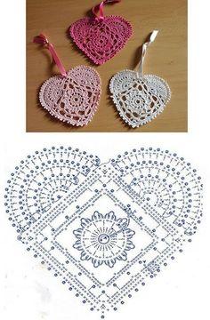 Motiv Herz häkeln - Coração Heart - Crochet heart pattern Knitting For BeginnersKnitting HatCrochet Hair StylesCrochet Stitches Filet Crochet, Crochet Motifs, Crochet Diagram, Crochet Chart, Crochet Squares, Thread Crochet, Crochet Doilies, Crochet Flowers, Crochet Patterns