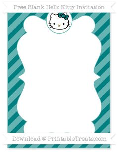 Free Teal Diagonal Striped Blank Hello Kitty Invitation