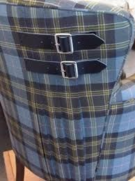 blue tartan kilt motif chair - the buckles are genius - Sarah Whyberd Tartan Chair, Tartan Fabric, Plaid Quilt, Tartan Kilt, Upholstery Trim, Furniture Upholstery, Upholstered Chairs, Upholstery Nails, Sewing Projects