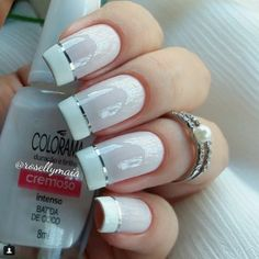 #unhas #branco  #esmaltes #colorama #francesinha #fioprateado  #PorRosellyMaia