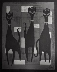 EL GATO GOMEZ PAINTING RETRO 1950'S ATOMIC ERA MID CENTURY MODERN BLACK CATS MOD #Modernism