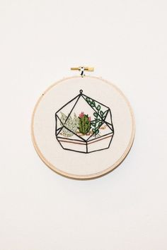 "Koe-Zee succulent terrarium embroidery framed in 5.5"" wooden embroidery hoop. HANDMADE IN SEATTLE, WA PIPE AND ROW"