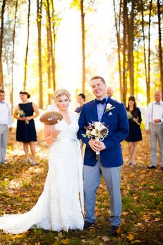 This Fall Favorites Wedding has it all; changing leaves, football, and homemade comfort food! Located at Kings Chapel and photos by Freestone Photography.