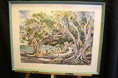 "Vintage Signed CECILE JOHNSON Bermuda Watercolor Art Litho Print 16"" X 20"""