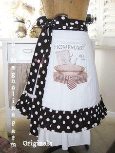 Farmhouse Flour Sack Apron Homemade Pie  by SweetMagnoliasFarm,