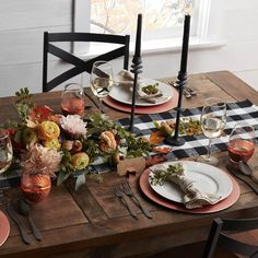 Temperature drops below 70 degrees for one day. Tap to shop fall arrivals. Thanksgiving Table Settings, Holiday Tables, Thanksgiving Decorations, Seasonal Decor, Table Decorations, Holiday Decor, Centerpiece Ideas, Centerpieces, Gothic Home