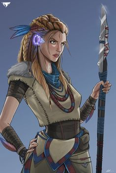 f Druid Leather Armor Necklaces Staff lwlvl hills forest farmland ArtStation Aloy by Will Lehmann lg Horizon Zero Dawn, Soldier Drawing, Forgotten Realms, Sexy Drawings, Leather Armor, Anime People, Fantasy Characters, Cartoon Art, Amazing Art