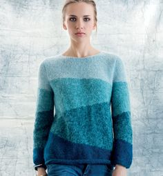 Ravelry: Pullover pattern by Phildar Design Team-Free Pattern Chunky Knit Throw Blanket, Knitted Blankets, Sweater Knitting Patterns, Cardigan Pattern, Crochet Shirt, Knit Crochet, Pull Mohair, Pull Bleu, Creative Knitting