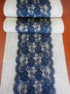 Burlap and black lace table runner wedding by DaniellesCorner, $18.00 Black Lace Table, Burlap Party, Burlap Table Runners, Burlap Crafts, Kid Table, Table Arrangements, Sewing For Beginners, Sewing Crafts, Table Decorations