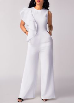 jumpsuits-for-women - Womens Fashion 2 White Jumpsuit, White Dress, Ruffle Jumpsuit, Printed Jumpsuit, Look Fashion, Fashion Outfits, Womens Fashion, Ladies Fashion, Jumpsuits For Women