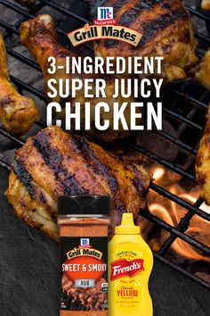 """Super Juicy Chicken"" is literally the name of the game. Coat chicken in French's Yellow Mustard and Grill Mates Sweet & Smoky Rub for an easy grilled chicken recipe. Grilling Recipes, Meat Recipes, Cooking Recipes, Recipies, Grilled Chicken Recipes, Chicken Wing Recipes, Pasta, Food Dishes, Carne"