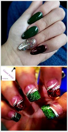 Christmas nails, almond-shaped, green, red and gold . - Care - Skin care , beauty ideas and skin care tips Gold Nails, Matte Nails, Acrylic Nails, Almond Shape Nails, Almond Nails, Christmas Nail Designs, Christmas Nail Art, Christmas Present Nails, Supplements For Hair Loss