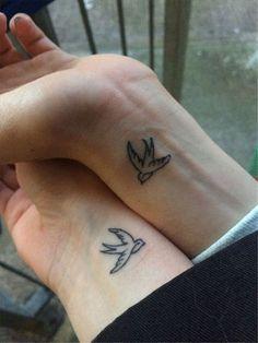 Swallow tattoo matching, best friend tattoo from travels matching friend tattoos, small matching tattoos Bff Tattoos, Tattoos Skull, Mini Tattoos, Cute Tattoos, Tribal Tattoos, Tatoos, Small Best Friend Tattoos, Small Matching Tattoos, Matching Best Friend Tattoos