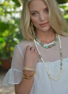 """Dress up your Spring Wardrobe in our Turquoise 18"""" Kayla Necklace & 33"""" Layne Necklace! 